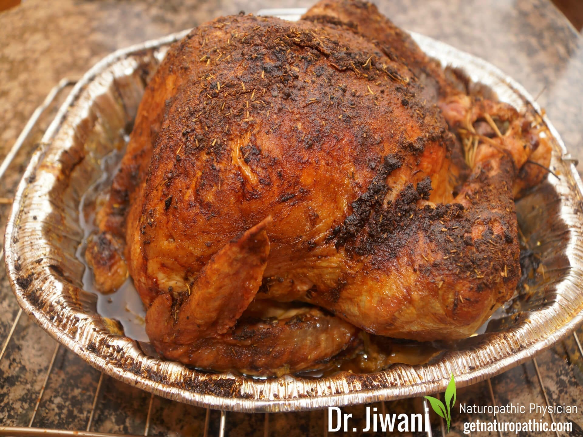 Dr. Jiwani's Roasted Turkey Recipe is Moist & Spicy while Low Carb, Gluten-Free, Egg-Free, Dairy-Free, Soy-Free, Corn-Free, Ideal For Vegan, Paleo, Keto, Diabetic & Candida Diets | Dr. Jiwani's Naturopathic Nuggets Blog